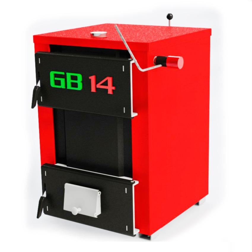 ГРІНБЕРНЕР 14 кВт з ручною подачею палива - побутовий опалювальний водогрійний твердопаливний стальний котел, призначений для опалювання індивідуальних житлових, дачних будинків.. Сталь 4 мм. Універсальний, працює на будь-яких видах палива: дрова, вугілля, пелети, брикети, відходи деревини. Тривалого горіння (на одній загрузці від 4 до 8 год.). У конструкції  використовується комбінований теплообмінник, що дає показник ККД 75-85%. Котли працюють за принципом прямого горіння. Економна лінійка твердопаливних котлів серії ГРИНБЕРНЕР - гарне співвідношення ціна-якість! В комплект входить: котел, механічний терморегулятор чеського виробництва, документація, засоби чистки!