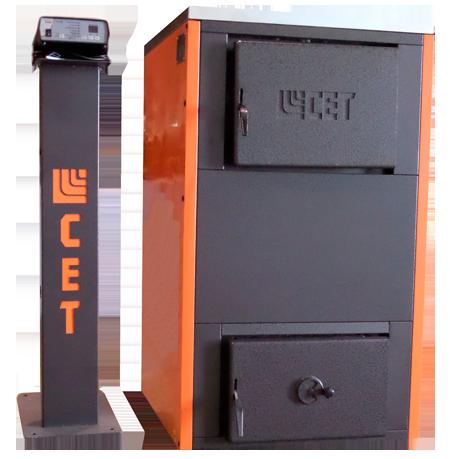 СЕТ 20 кВт з ручною подачею палива - побутовий опалювальний водогрійний твердопаливний стальний котел, призначений для опалювання індивідуальних житлових, дачних будинків. Сталь 5 мм. Універсальний, працює на будь-яких видах палива: дрова, вугілля, пелети, брикети, відходи деревини. Тривалого горіння (на одній загрузці від 8 до 12 год.). У конструкції  використовується запатентований трубчастий теплообмінник із сертифікованої котлової сталі, що дає підвищений показник ККД (більше 90%) і відсутність зон закипання. Котли працюють за принципом двоступеневого спалювання (напів-піроліз). Продукція сертифікована. Надаємо повний пакет документів. В комплект входить: котел, група безпеки, пульт управління, документація, засоби чистки!